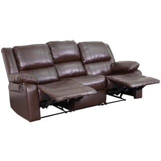 Serenity Classic Brown Leather Reclining Sofa