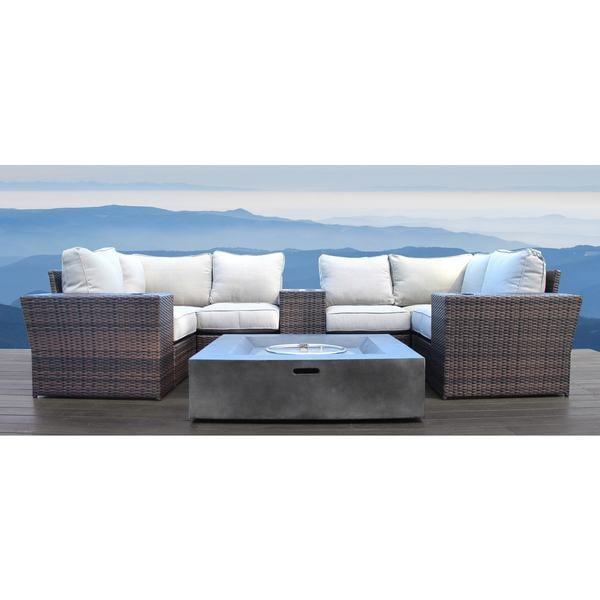 Living Source International Lucca Wicker All Weather Outdoor Furniture  Patio Sofa Set 10 Piece Fire