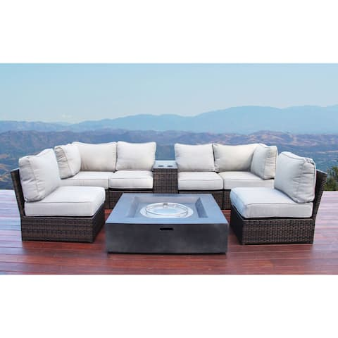 Lucca Brown Wicker 8-piece Fire Pit Lounge Set