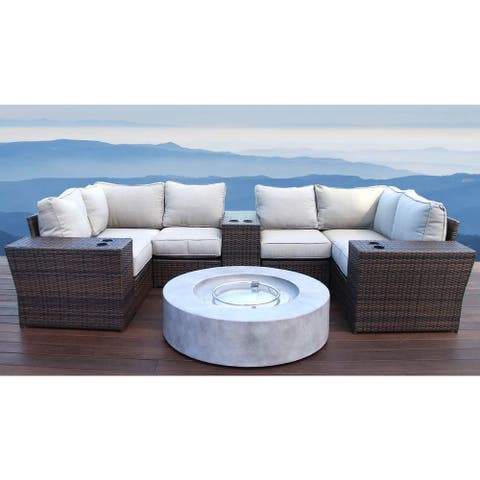 Living Source International Lucca Brown Outdoor Wicker 10-piece Lounge Set with Fire Pit