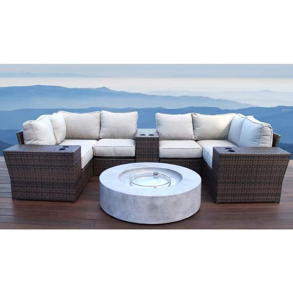 Living Source International Lucca Brown Outdoor Wicker 10-piece Lounge Set with Fire Pit. Opens flyout.