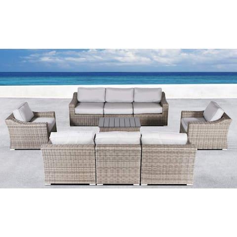 Marina Grey Wicker 9-piece Sofa Conversation Set