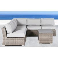 Living Source International All Weather Wicker Outdoor Furniture Patio Sofa Set With Cushions Grey 6-piece Sectional Set