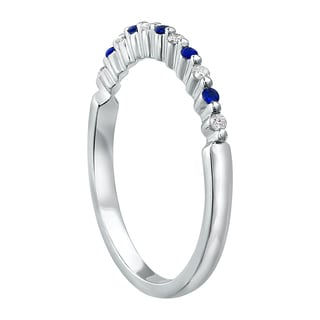 10k White Gold Shared Prongs Blue Sapphire and Diamond Band Ring