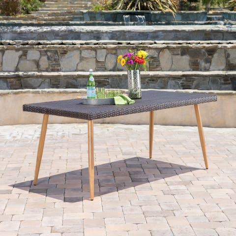 Delphi Outdoor Wicker Rectangular Dining Table by Christopher Knight Home