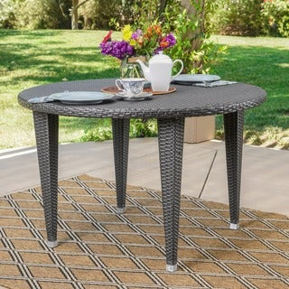 Dominica Outdoor Wicker Round Dining Table by Christopher Knight Home