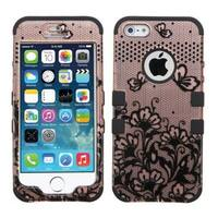 Insten Rose Gold/ Black Lace Flowers Tuff Hard PC/ Silicone Dual Layer Hybrid Case Cover For Apple iPhone 5/ 5S/ SE