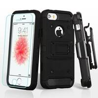 Insten Black Hard Snap-on Dual Layer Hybrid Case Cover with Stand/ Holster For Apple iPhone 5/ 5S/ SE