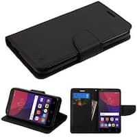 Insten Black Leatherette Case Cover with Stand/ Wallet Flap Pouch For Alcatel Pixi 4(5)