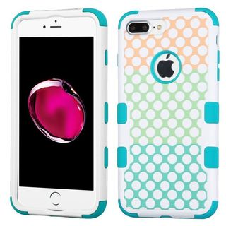 Insten Blue/ White Polka Dots Tuff Hard PC/ Silicone Dual Layer Hybrid Rubberized Matte Case Cover For Apple iPhone 7 Plus