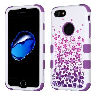 Insten Purple/ White Hibiscus Flower Romance Tuff Hard PC/ Silicone Dual Layer Hybrid Case Cover For Apple iPhone 7