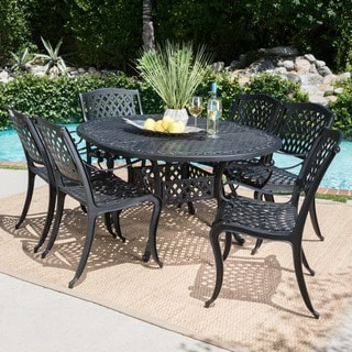Carysfort Outdoor 7-piece Oval Aluminum Dining Set by Christopher Knight Home