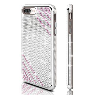 Insten Silver/ Purple Hard Snap-on Dual Layer Hybrid Diamond Bling Case Cover For Apple iPhone 7 Plus