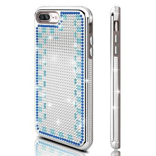 Insten Silver/ Blue Hard Snap-on Dual Layer Hybrid Rhinestone Bling Case Cover For Apple iPhone 7 Plus