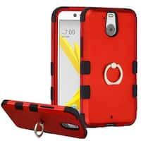 Insten Red/ Black Hard PC/ Silicone Dual Layer Hybrid Rubberized Matte Case Cover with Ring stand For HTC 10 EVO / Bolt