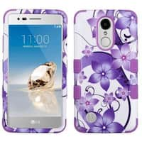 Insten Purple/ White Hibiscus Flower Romance Tuff Hard PC/ Silicone Dual Layer Hybrid Case Cover For LG Aristo/ LV3