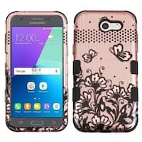 Insten Rose Gold/ Black Lace Flowers Tuff Hard PC/ Silicone Dual Layer Hybrid Case Cover For Samsung Galaxy J3 (2017)