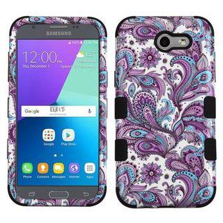 Insten Purple/ White European Flowers Tuff Hard PC/ Silicone Dual Layer Hybrid Case Cover For Samsung Galaxy J3 (2017)