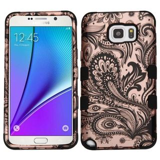 Insten Rose Gold/ Black Phoenix Flower Tuff Hard PC/ Silicone Dual Layer Hybrid Case Cover For Samsung Galaxy Note 5