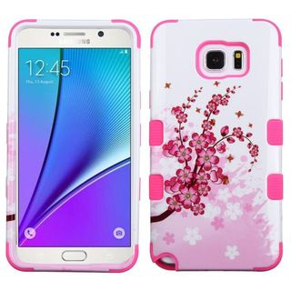 Insten Pink/ White Spring Flowers Tuff Hard PC/ Silicone Dual Layer Hybrid Rubberized Matte Case Cover For Samsung Galaxy Note 5