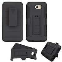 Insten Black Car Armor Hard PC/ Silicone Dual Layer Hybrid Case Cover with Holster For Samsung Galaxy On5 (2016)