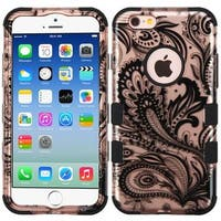 Insten Rose Gold/ Black Phoenix Flower Tuff Hard PC/ Silicone Dual Layer Rubberized Matte Case Cover For Apple iPhone 6/ 6s