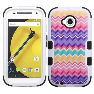 Insten Pink/ Purple Camo Wave Tuff Hard PC/ Silicone Dual Layer Hybrid Rubberized Matte Case Cover For Motorola Moto E (2nd Gen)