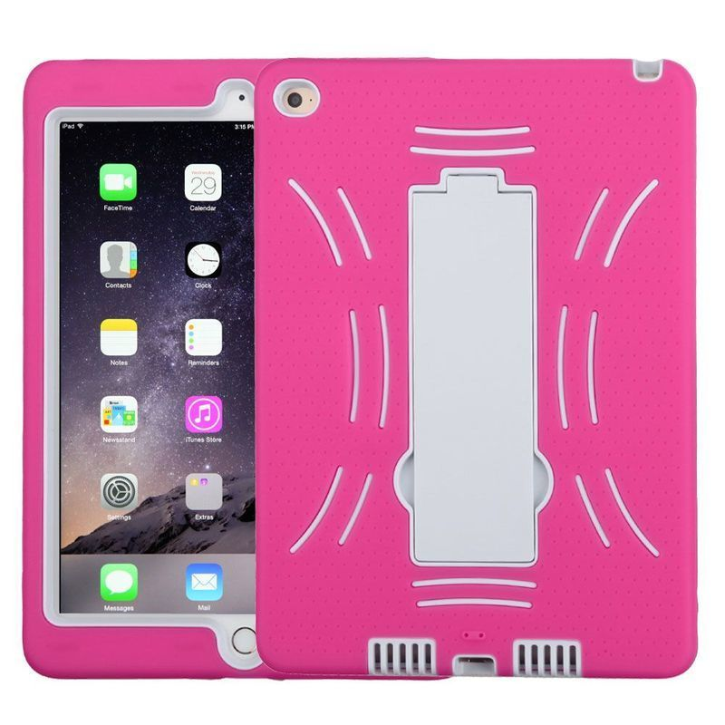 Insten Hot Pink/ White Symbiosis Soft Silicone/ PC Dual L...