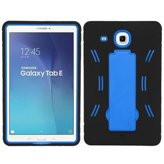 Insten Black/ Blue Symbiosis Soft Silicone/ PC Dual Layer Hybrid Rubber Case Cover with Stand For Samsung Galaxy Tab E 9.6