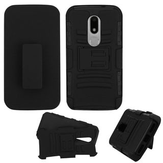 Insten Black Car Armor Hard PC/ Silicone Dual Layer Hybrid Case Cover with Holster For Motorola Moto M