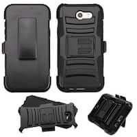 Insten Black Car Armor Hard PC/ Silicone Dual Layer Hybrid Case Cover with Holster For Samsung Galaxy J3 (2017)