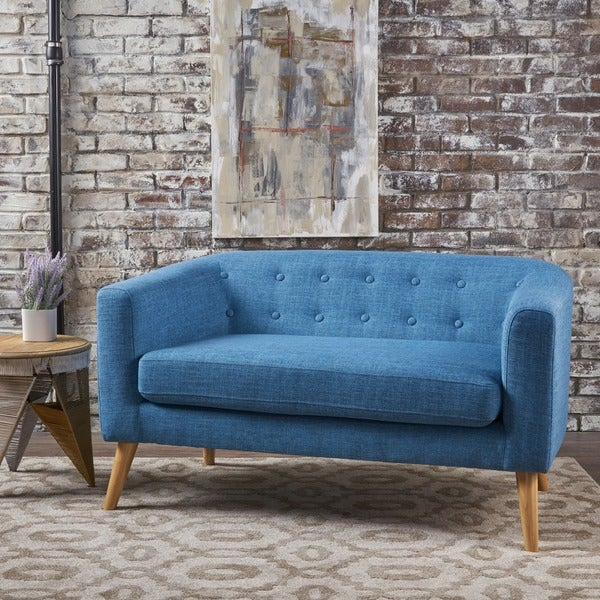 Shop Bridie Mid Century Fabric Loveseat By Christopher Knight Home