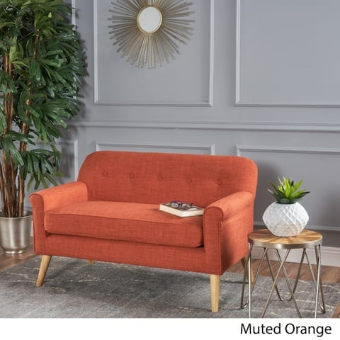 Mariah Mid-Century Fabric Loveseat by Christopher Knight Home