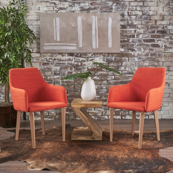 Shop Alistair Mid Century Fabric Dining Chair Set Of 2 By