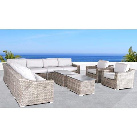 Living Source International Marina Grey Outdoor Wicker Sectional Conversation Set (11-piece Set)