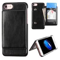 Insten Black Leatherette Case Cover with Stand/ Wallet Flap Pouch/ Photo Display For Apple iPhone 7