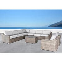 Living Source International Marina Aluminum and Wicker 10-piece Sectional Conversation Set