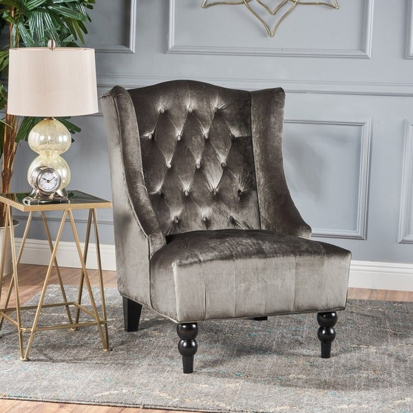 Toddman High-Back Velvet Club Chair by Christopher Knight Home. Opens flyout.