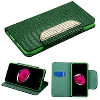 Insten Green Leatherette Crocodile Skin Case Cover with Stand/ Wallet Flap Pouch/ Diamond For Apple iPhone 7 Plus