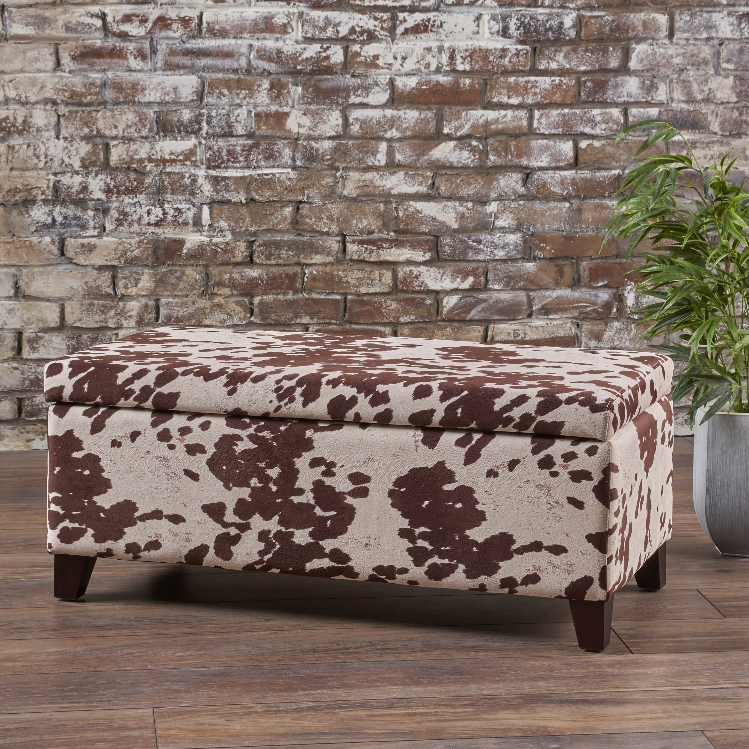 Pleasant Details About Breanna Velvet Cow Print Storage Ottoman Bench By Christopher Knight Home Dailytribune Chair Design For Home Dailytribuneorg