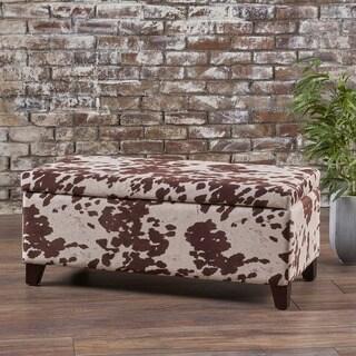 Breanna Velvet Cow Print Storage Ottoman Bench by Christopher Knight Home