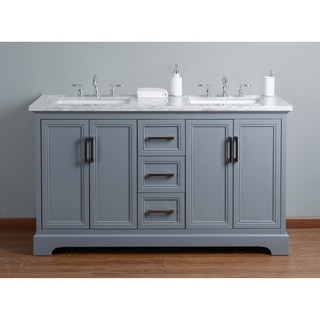 Stufurhome Ariane 60 In. Grey Double Sink Bathroom Vanity