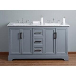 Stufurhome Ariane 60 in. Grey Double Sink Bathroom Vanity