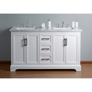 Stufurhome Ariane 60 in. White Double Sink Bathroom Vanity