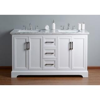 Stufurhome Ariane 60 In. White Double Sink Bathroom Vanity
