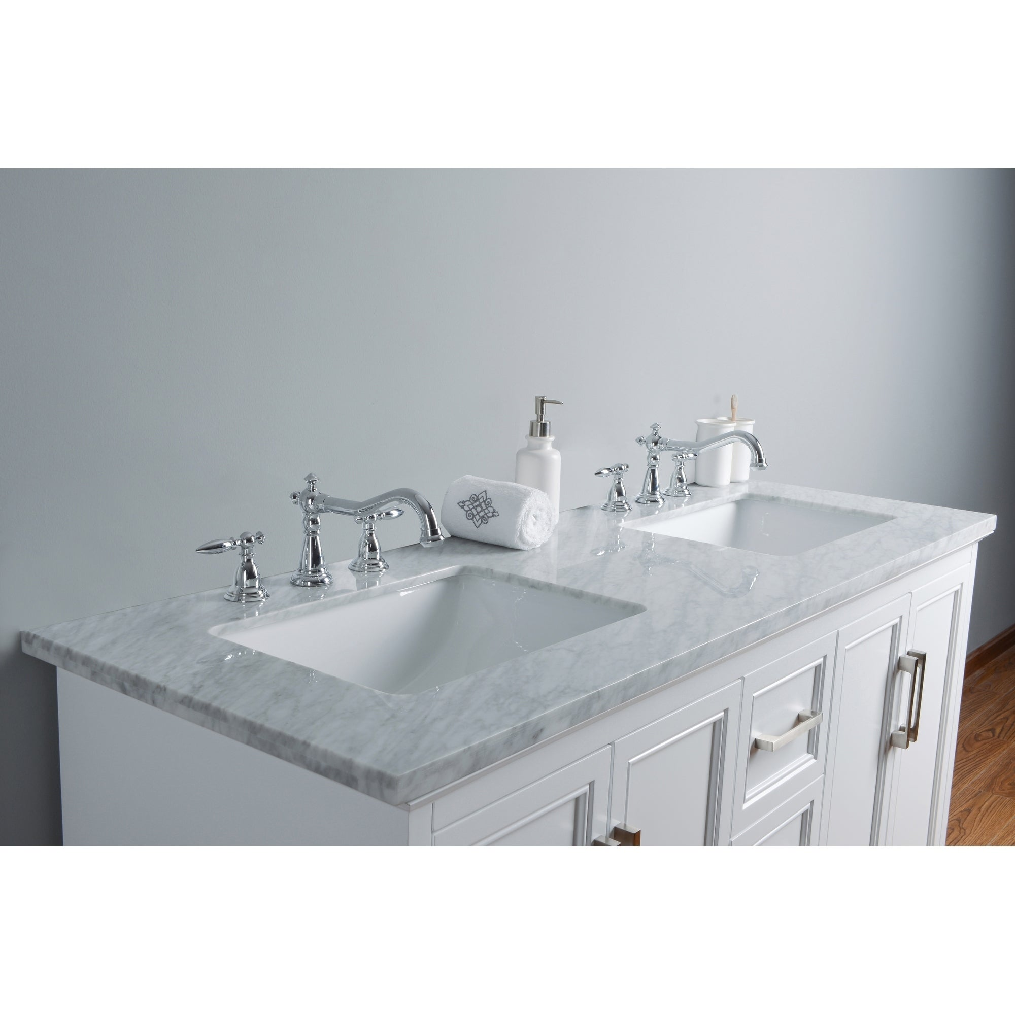 Stufurhome Ariane 60 in. White Double Sink Bathroom Vanity | eBay