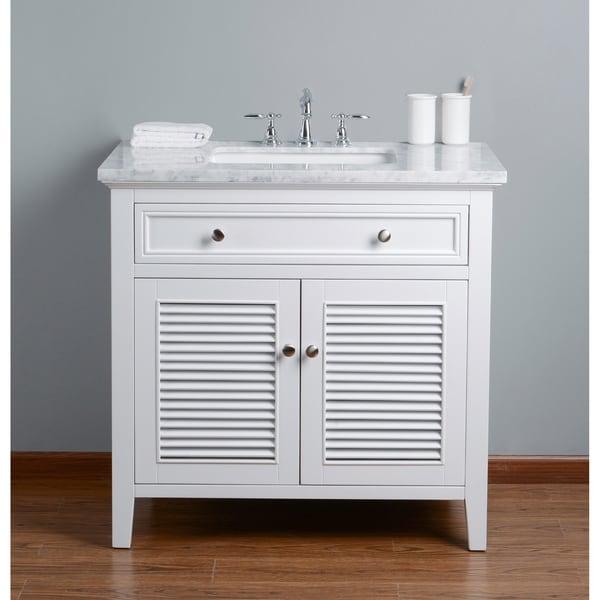 Stufurhome Genevieve 36 in. White Single Sink Bathroom Vanity