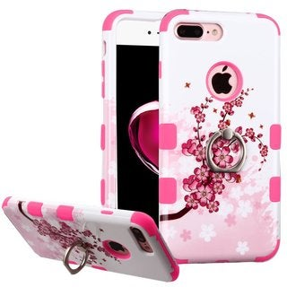 Insten Pink/ White Spring Flowers Hard PC/ Silicone Dual Layer Hybrid Case Cover with Ring stand For Apple iPhone 7 Plus