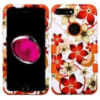 Insten Orange/ White Hibiscus Flower Romance Tuff Hard PC/ Silicone Dual Layer Hybrid Case Cover For Apple iPhone 7 Plus