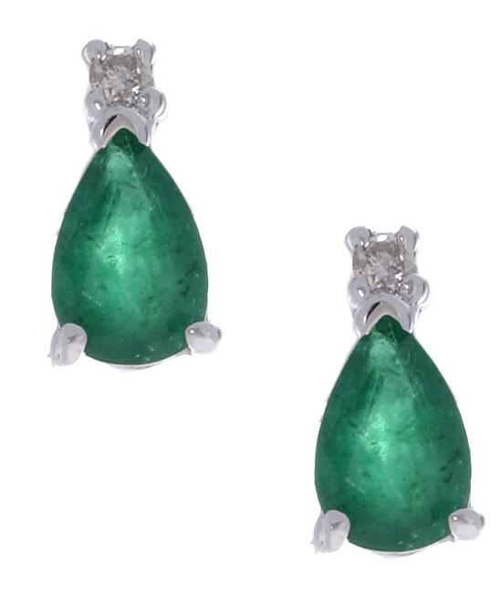 Marquee Jewels 14k White Gold Pear-shaped Emerald Earrings